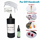 1kg+30ml UV Epoxy Resin Crystal Clear Transparent + Portable UV Lamp, UV Curable Clear Resin Glue DIY Jewelry Making Handcraft Kit for Pendants Earrings Necklaces Bracelets Nail Art Accessories (Color: 1kg resin with lamp)
