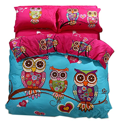 Cliab Owl Bedding Girl Duvet Cover Set Twin Size 3 Pieces 100% Cotton
