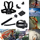 ATian Chest Harness & Head Strap Mount & Monopod Tripod Adapter for Gopro Hd Hero 4/3+/3/2/1 Camera
