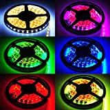HitLights 16.4 Ft (5 Meters) Indoor RGB Mutli Color Changing 150 LEDs Lighting Strip, 12VDC Input (Power Adapter and Controller Not Include)