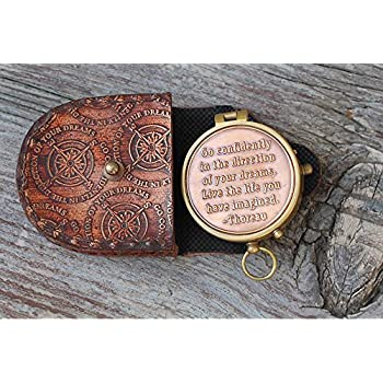 Thoreau's Go Confidently Quote Compass W/Stamped Case.