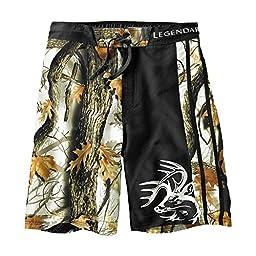Legendary Whitetails Men\'s God\'s Country Camo Lakeside Swim Shorts God\'s Country Camo Black Large