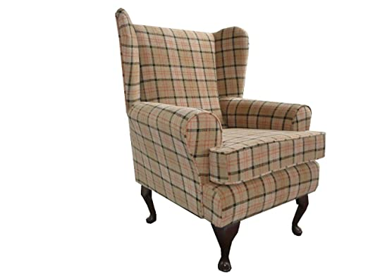 Fawn Beige Tartan Fabric Queen Anne Chair wing back fireside high back chair. Ideal bedroom or living room furniture