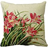 Cateyes Pink Lilies and Butterflies Cotton Linen Throw Pillow Covers(18 x 18inches)