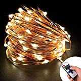 Loende LED Starry String Lights - 33FT 100 LED Waterproof Cooper Wire Fairy Light for Indoor - Bedroom - Home - Outdoor - Garden - Patio - Holiday - Party - Wedding Decor with a Remote Control(Warm White)