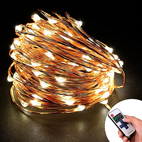 Loende LED Indoor Starry String Lights, Dimmable Waterproof Cooper Wire Fairy Light for Bedroom, Home, Outdoor, Garden, Patio, Holiday, Party, Wedding Decor(33ft 100LEDs Warm White, Remote Control)
