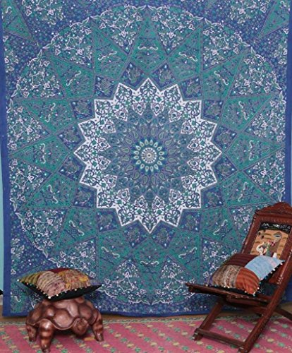 New Kayso Kaleidoscopic Star Tapestry Intricate Floral Design Indian Bedspread Labhanshi