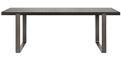Table à manger en chêne noir, piètement en métal - Dim : H 180 x L 90 x P 76 cm - PEGANE -