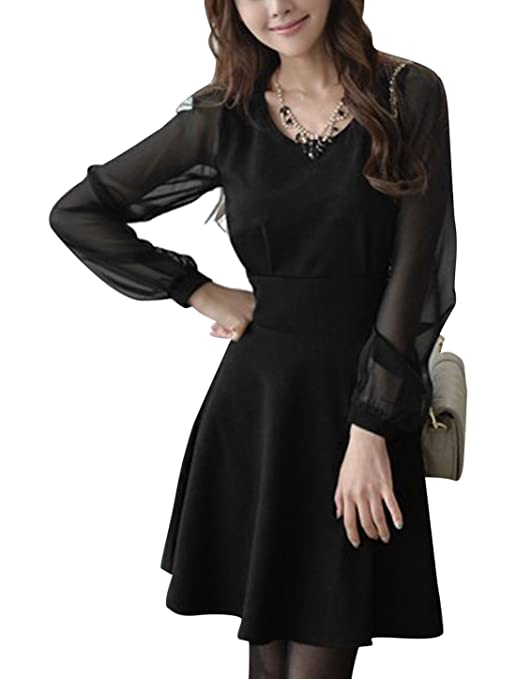 Women Round Neck Chiffon Long Sleeved Splicing Skater Dress