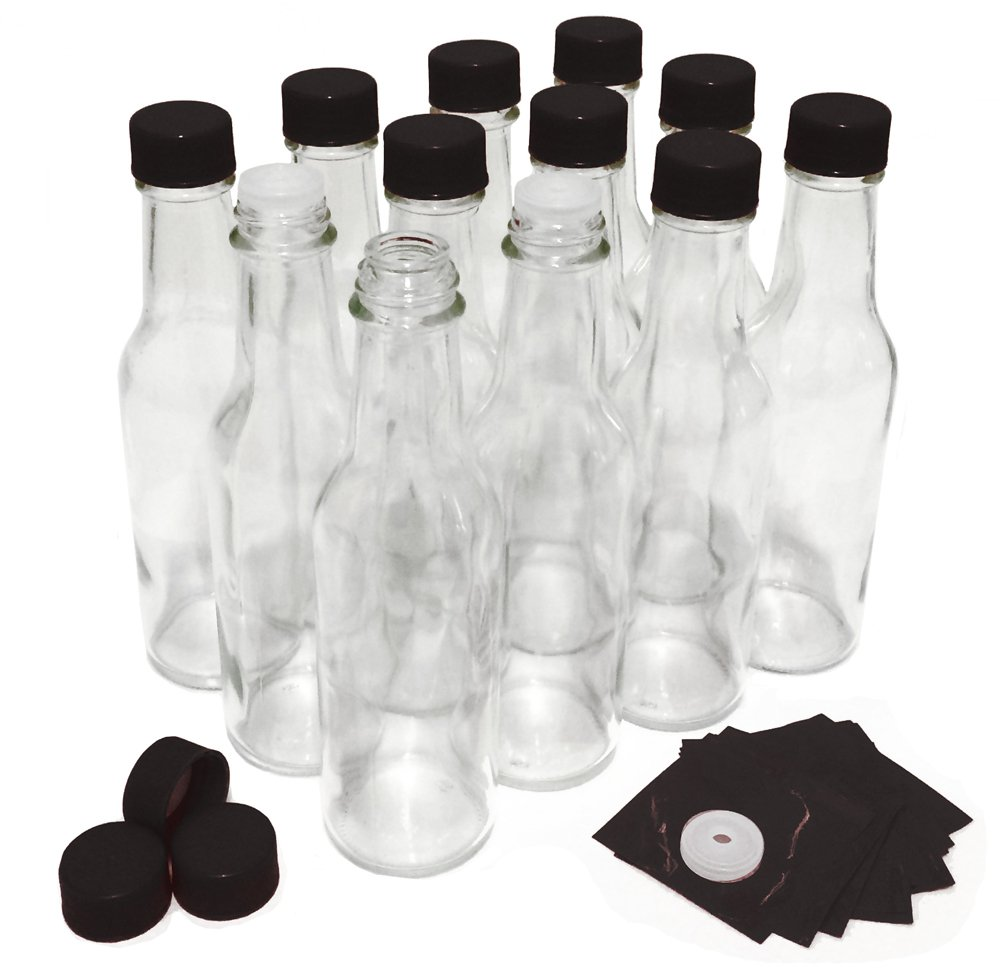 5 oz Clear Hot Sauce Bottles With Caps And Dripper Inserts