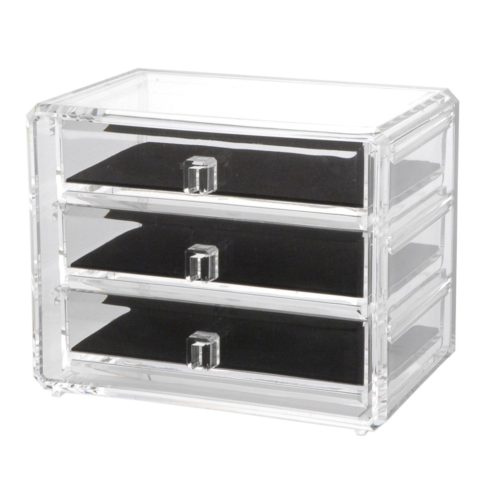 us acrylic deluxe 3 drawer jewelry chest with removable