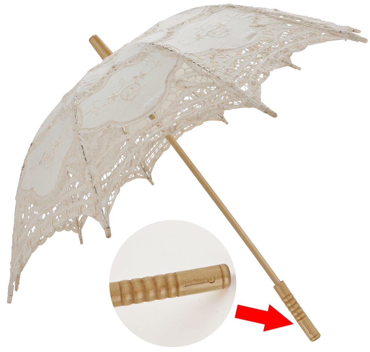 Leegoal Handmade Umbrellas for Bridal Bridesmaid Wedding Decoration, Beige 4