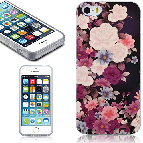 iphone 5S Case, Johncase [Floral Series] Apple iphone 5 5s SE Case Covers Durable TPU-material for Scratch Resistant and Drop Protection [Retail Packing/ Cute Protective Phone Case for iphone 5c 5s SE(2015) - (Flower) (Iphone 5c Flower Case Protective compare prices)