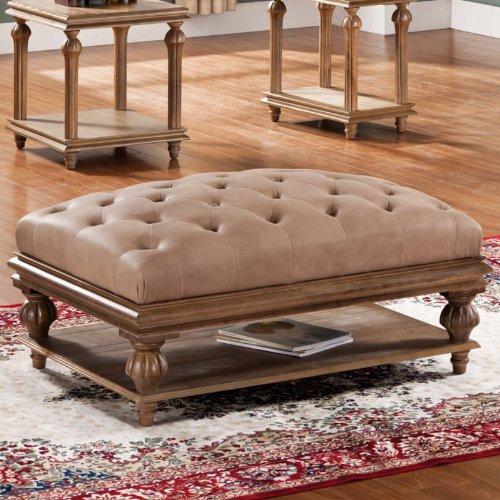 Steve Silver Stevenson Rectangle Sandstone Upholstered Ottoman Coffee Table