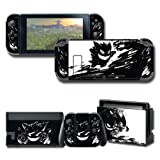 Skin Cover Decals for Nintendo Switch, Vinyl Protector Wrap Full Set Protective Faceplate Stickers Black Console Joy-Con Dock
