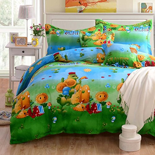 Norson Plants Vs. Zombies Bedding Sets for Teens,zombies Bedding Set,kids Cartoon Anime Bedding Sets ,Twin Queen King Size (Queen)