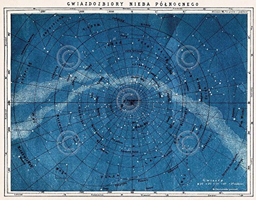 Astronomy-Map-Northern-Constellations-Vintage-Reproduction-Print-Poster-11x14