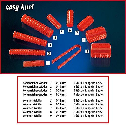 Easykurl Lockenwickler Papilotten 10 mm, rot, Korkenzieher-Lockenwickler mit Papilätt-Zange
