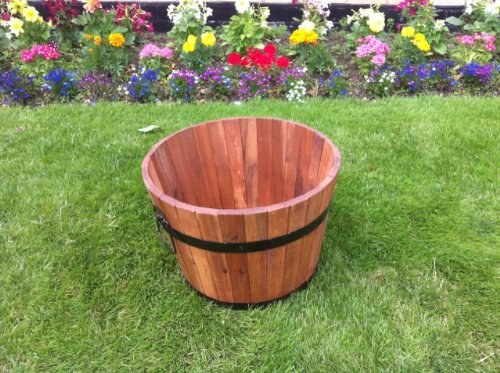 SOLID ACACIA HARDWOOD GARDEN PATIO PLANTER TUB POT.