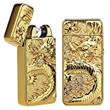 Pard Relief Dragon Windproof Cross Arc Lighter, USB Rechargeable Flameless Electronic Pulse Arc Cigarette Lighter, Gold