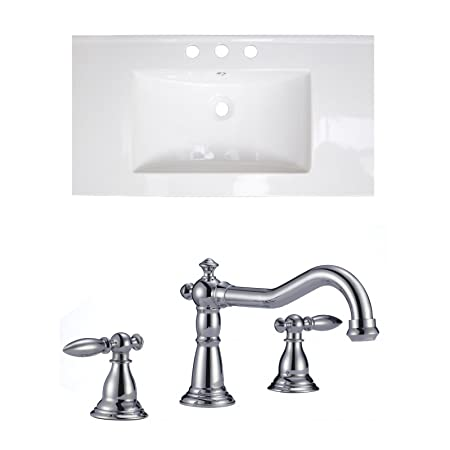 "Jade Bath JB-15635 36"" W x 20"" D Ceramic Top Set with 8"" o.c. CUPC Faucet, White"