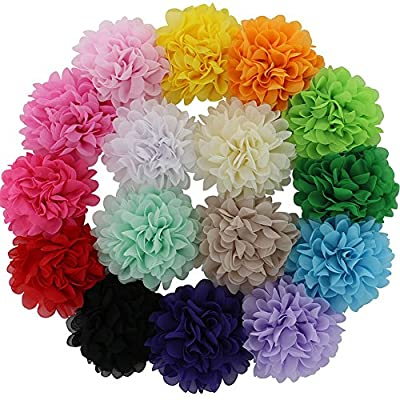 """QingHan Baby Girls 4.5"""" Chiffon Flower Hair Bows Clips Pack Of 16"""