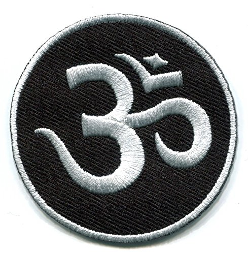 Aum om infinity hindu hinduism yoga indian trance applique iron-on patch white on black new