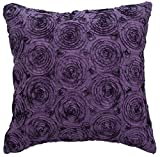 Avarada Solid Floral Bouquet Throw Pillow Cover Decorative Sofa Couch Cushion Cover Zippered 16x16 Inch (40x40 cm) Purple