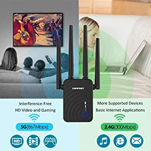 COMFAST 1200Mbps WiFi Range Extender WiFi Booster Dual Band (2.4GHz 300Mbps+5.8GHz 867Mbps) Wireless Repeater/Access Point/Router with 4 External Antennas, Ethernet Port, WPS, LED (CF-WR754AC)