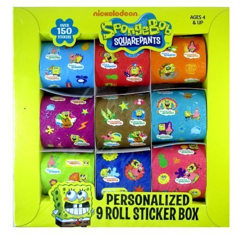 Spongebob Sticker Rolls - Spongebob Rolled Sticker Box (9Rolls) - 1