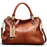 Jack&Chris® Women Vintage Leather Shoulder Handbags Top-handle Tote,WBDZ019 (Brown)