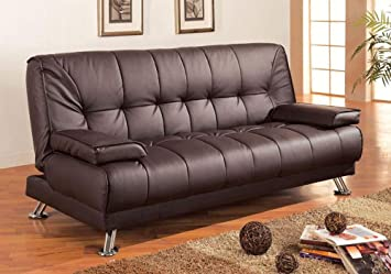 1PerfectChoice Contemporary Living Room Sleeper Sofa Bed Futon Brown Faux Leather Metal Leg NEW