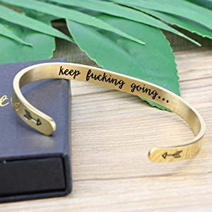 MEMGIFT Inspirational Bracelets for Women Cuff Bangle Encouragement Jewelry Gifts for Her Birthday (Gold)