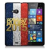 Coque rigide noire pour Nokia Lumia 535 avec impression Motif logo rugby doré et drapeau de la Franc...