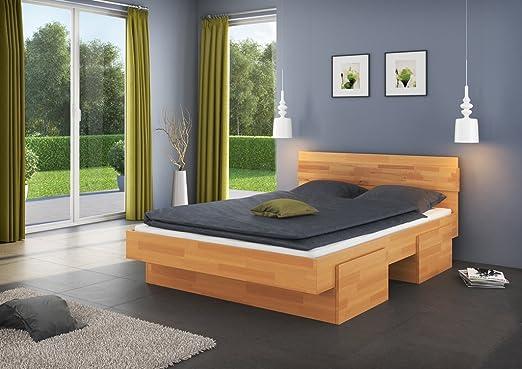 Doppelbett / Funktionsbett Medin 4 inkl. 4 Schubladen, Buche Vollholz massiv geölt - Liegefläche 180 x 200 cm