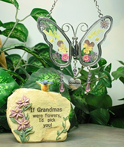 Grandma Message Rock and Butterfly Suncatcher Set - Butterfly Has Hanging Charm with Grandma Engraved on It - Grandma Gift - Grandma to Be - Mother-in-law