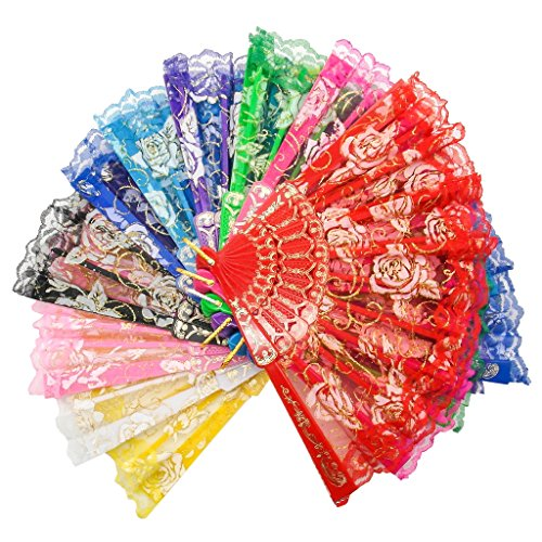 TrendBox Elegant Vintage Retro Flower Rose Lace Handheld Chinese Folding Fan For Dancing Ball Parties Ladies - 1 Set (10 Colors)