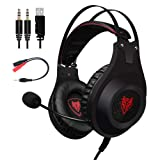 NUBWO N2+ Stereo Gaming Headset Noise Cancelling Over Ear Headphones with Mic, LED Light, Bass Surround, Soft Memory Earmuffs for PC Xbox One Controller PS4 Laptop Mac Nintendo Switch Games