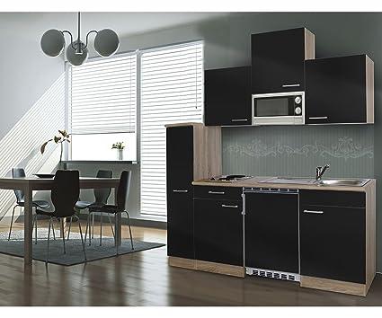 Respekta Kitchen Kitchenette Kitchenette Block Single 180 cm Rough-Cut Oak Rough-Cut Oak Replica Microwave Black APL KB180ESSMI