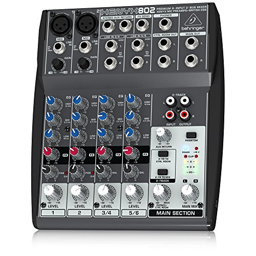 Behringer Xenyx 802 Premium 8-Input 2-Bus Mixer with Xenyx Mic Preamps and British EQs (Dj Mixers compare prices)