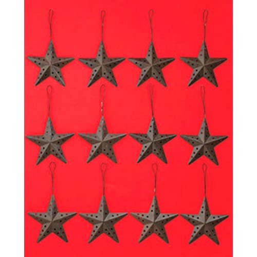 Set of 12 Rustic Barn Stars Ornaments