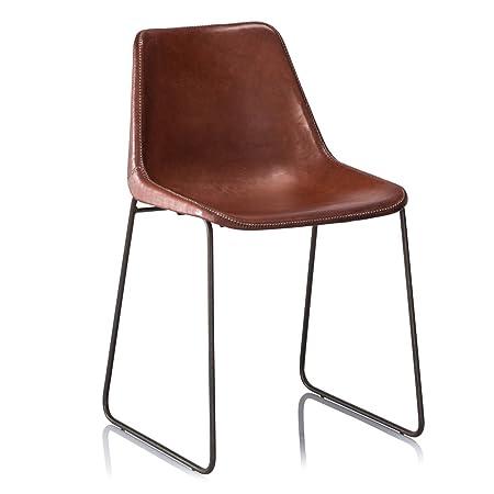 Upper-Silla de Comedor de estilo retro industrial silla escolar de color canela oscuro cuero METAL CAFE SILLAS dos sillas un conjunto
