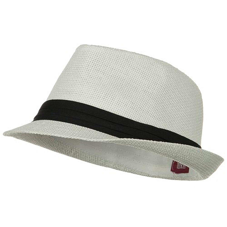 Black Straw Hat Straw Fedora White Black