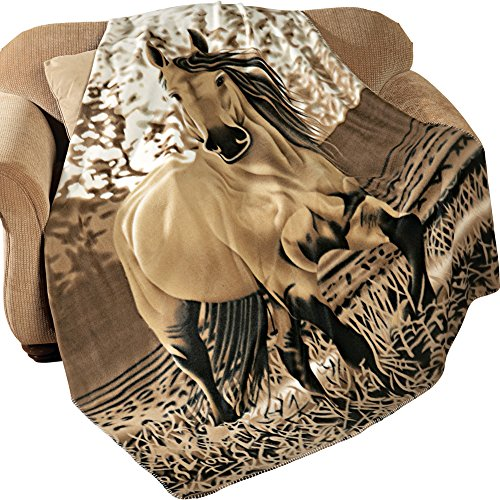 Western Horse Soft Fleece Throw Blanket, 63