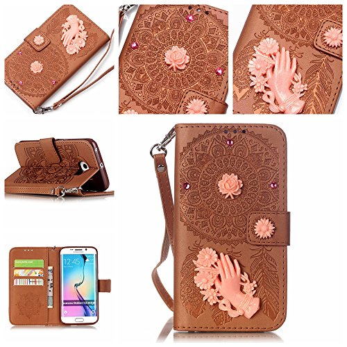 Custodia Galaxy S6 Edge Smartphone,Cozy Hut Lusso Premium Ultra Slim Sottile Custodia Flip Wallet in Similpelle per Samsung Galaxy S6 Edge Case Cover protettivo Protettote speciale con supporto di stand+ carte slot - marrone