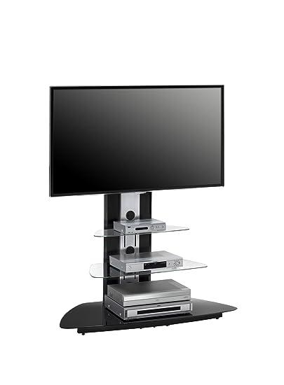 MAJA TV-Rack Fernsehständer in Metall Alu / Schwarzglas 110x127x52cm - TV-Halterung schwenkbar und höhenverstellbar