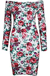 Womens Ladies Flower Roses Dog Tooth Print Fitted Bardot Off Shoulder Stretchy Tunic Bodycon Mini Dress by BE JEALOUS
