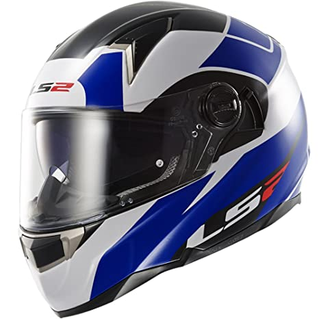 LS2 Casque de moto bleu blanc Ff396 pi2 Thunderbolt