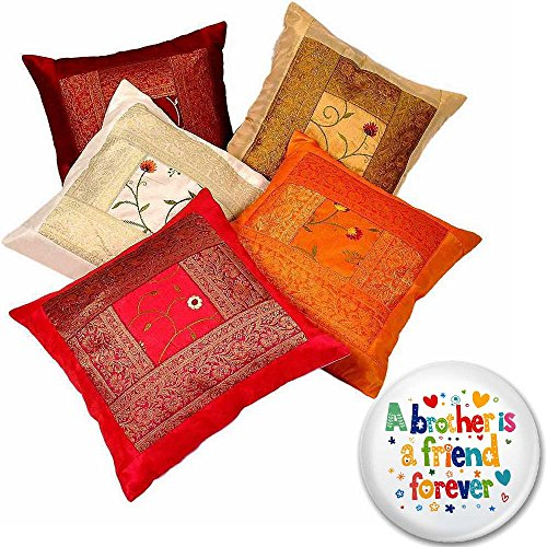 Little India Zari Hand Embroidery Work Silk 5 Piece Cushion Cover Set - Multicolor  (DLI3CUS426)