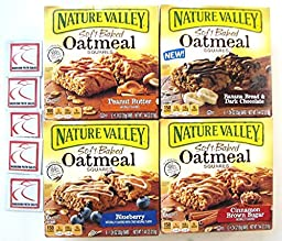4 Pack! Nature Valley Soft Baked OATMEAL Bars Variety Bundle: Blueberry; Peanut Butter; Cinnamon Brown Sugar; Banana Bread Dark Chocolate + Sanitizing Hand Wipes. Care Package, Food Gift Basket